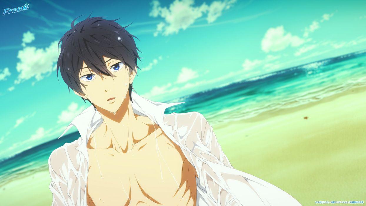 male beach black hair blue eyes free! logo male nanase haruka open shirt see through tagme (artist) wet wallpaper