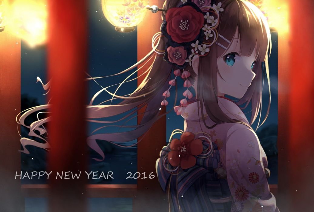 aliasing aqua eyes brown hair japanese clothes kimono long hair nonono original stars wallpaper