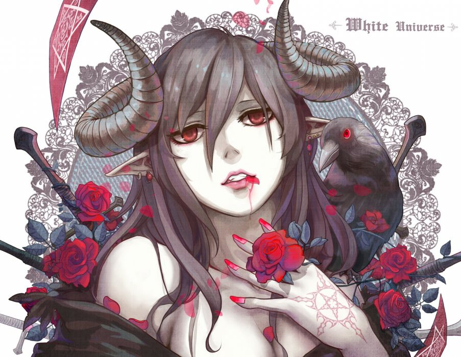 animal aoiakamaou bird black hair blood flowers horns long hair original petals red eyes rose tattoo wallpaper
