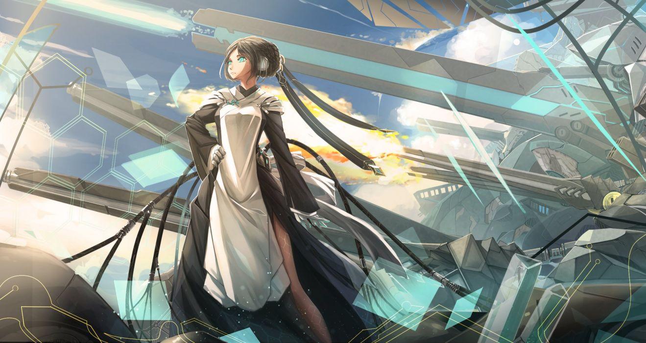 aqua eyes black hair dress fire kikivi mechagirl original weapon wallpaper