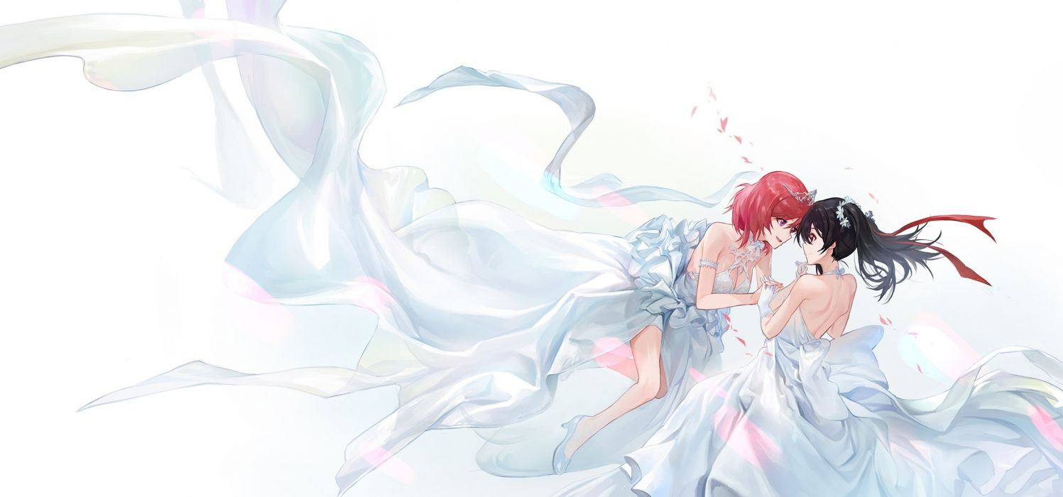 black hair breasts cleavage love live! school idol project mossi nishikino maki red hair ribbons shoujo ai tiara wedding wedding attire yazawa nico wallpaper