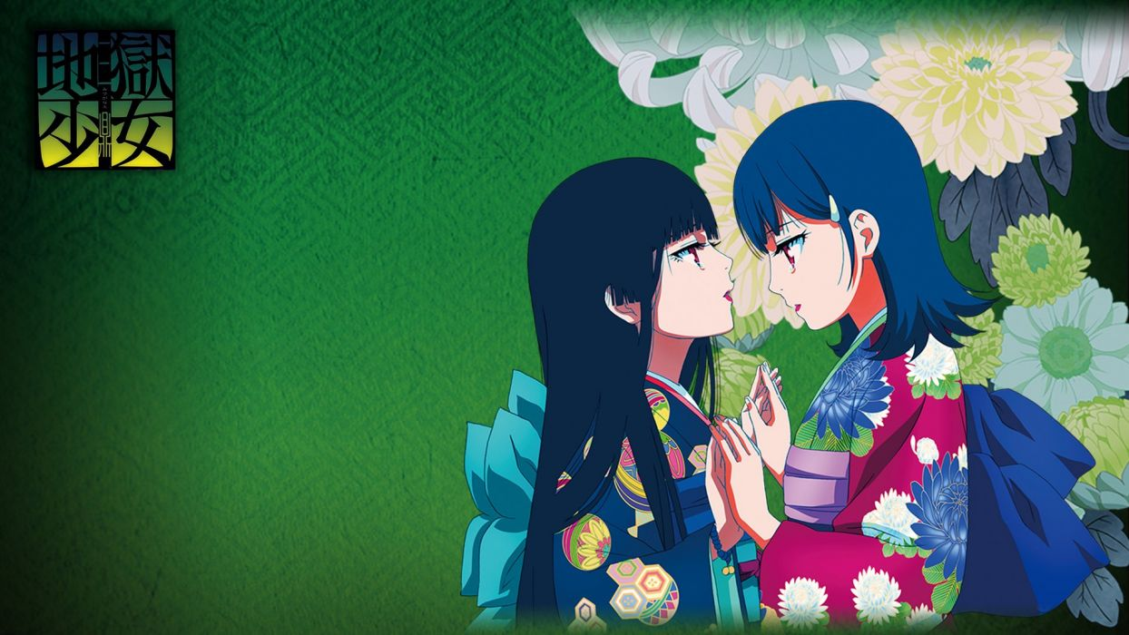 black hair enma ai japanese clothes jigoku shoujo kimono mikage yuzuki red eyes wallpaper
