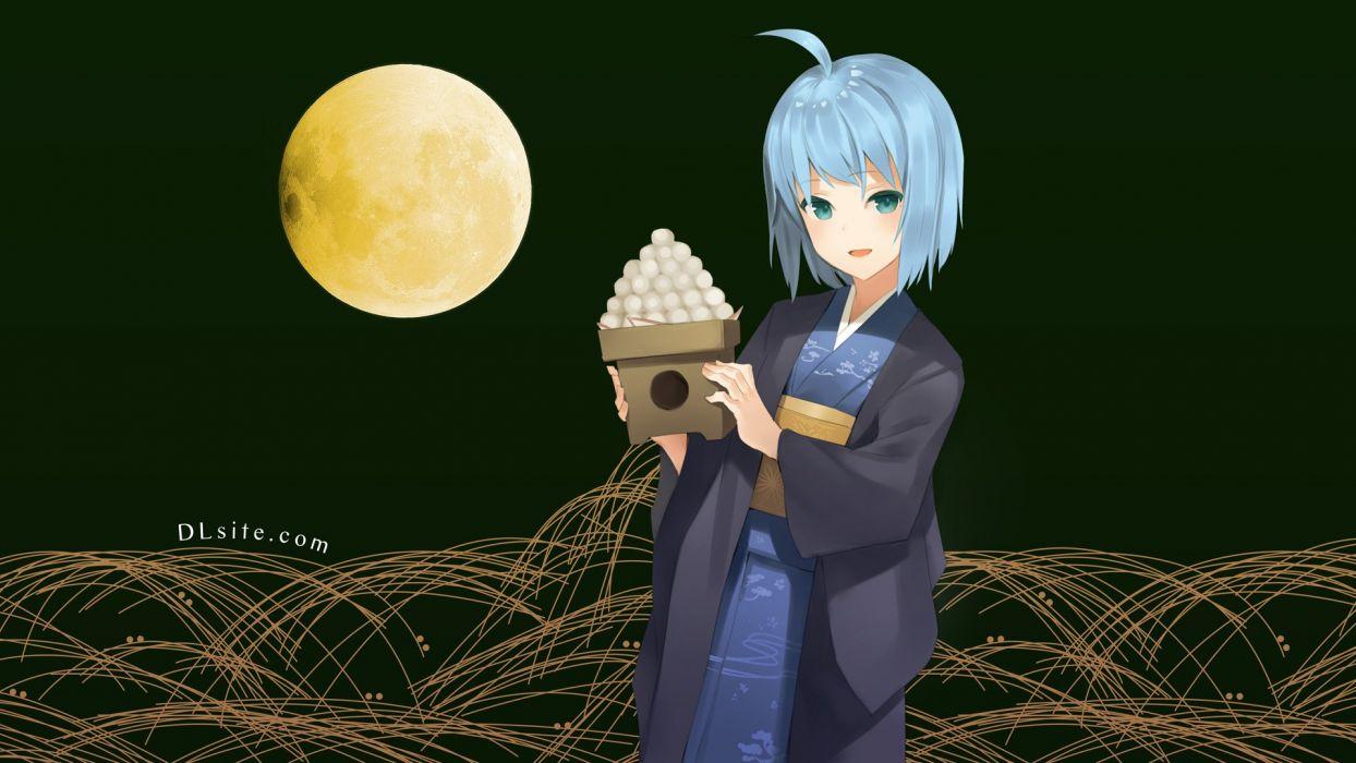 blue hair dlsite com elle sweet green eyes japanese clothes kimono moon natashya (pommier) original short hair wallpaper
