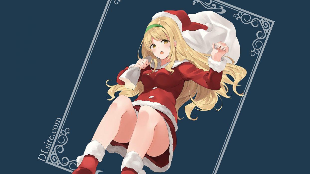 blonde hair christmas dille blood dlsite com hat long hair natashya (pommier) orange eyes original santa costume santa hat wallpaper
