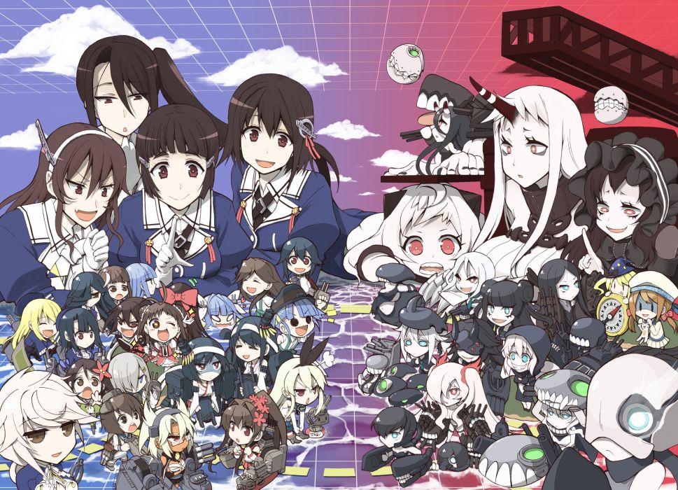chibi fusou (kancolle) group i-19 (kancolle) nachi (kancolle) naka (kancolle) rensouhou-chan seaport hime tagme tagme (artist) takao (kancolle) wallpaper