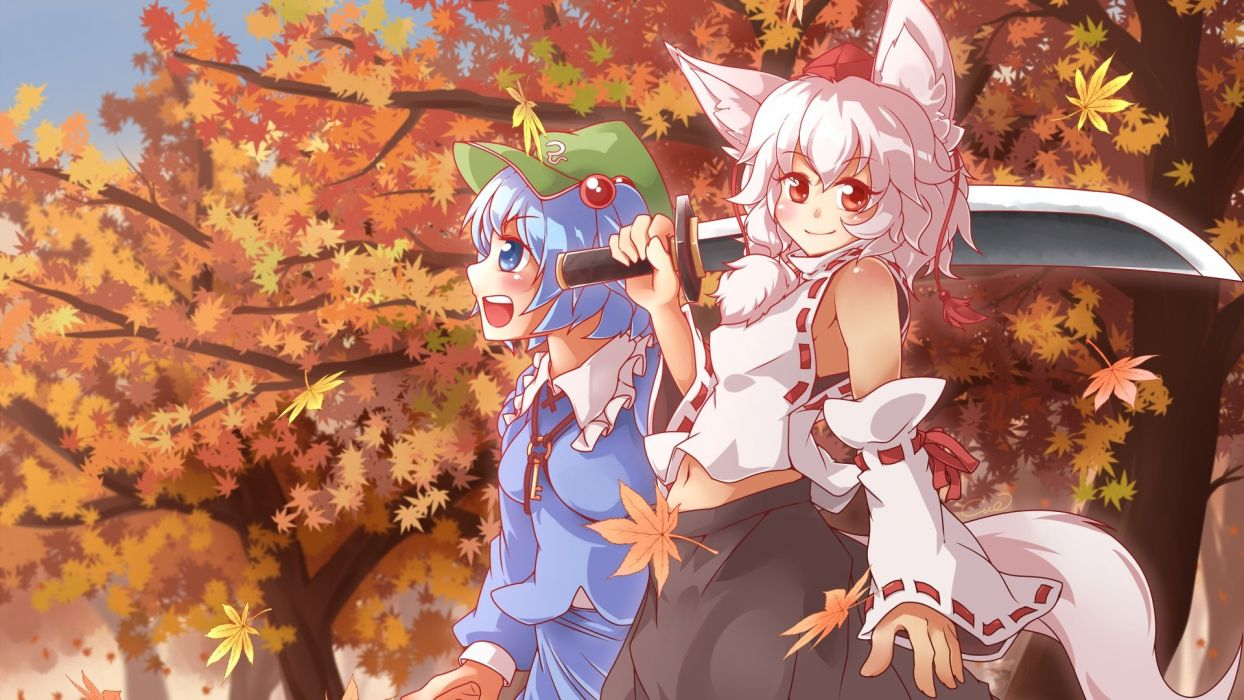 girls animal ears autumn blue eyes blue hair cue (lindwrum) forest hat red eyes short hair signed sword tail touhou tree weapon white hair wolfgirl wallpaper