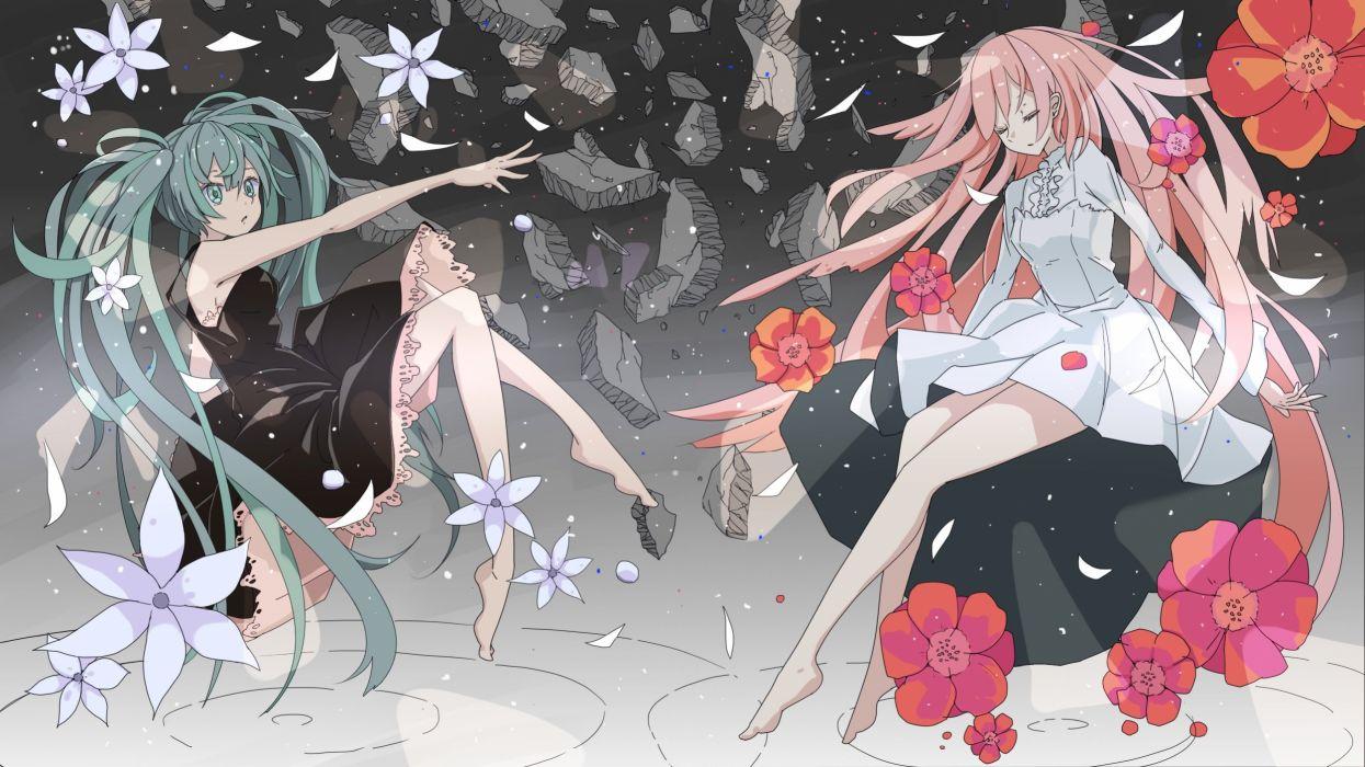 girls aqua eyes aqua hair barefoot dress flowers gnosis (ylyk) hatsune miku long hair megurine luka petals pink hair vocaloid wallpaper