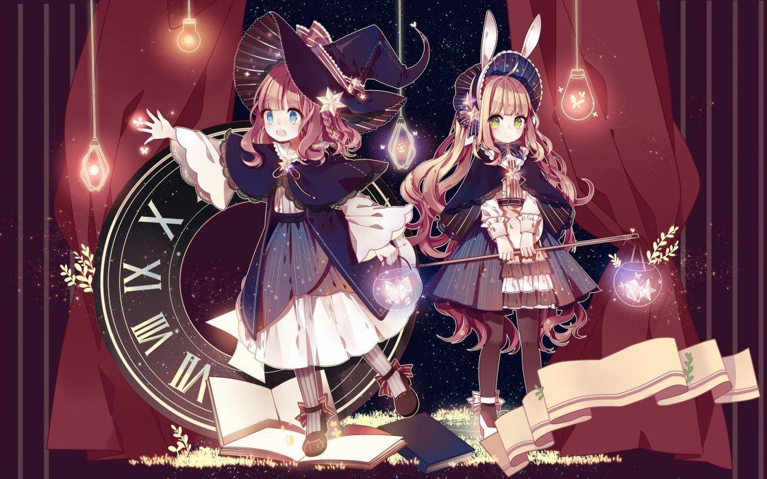 girls blue eyes braids bunny ears green eyes hat kuromomo lolita fashion long hair original witch hat wallpaper