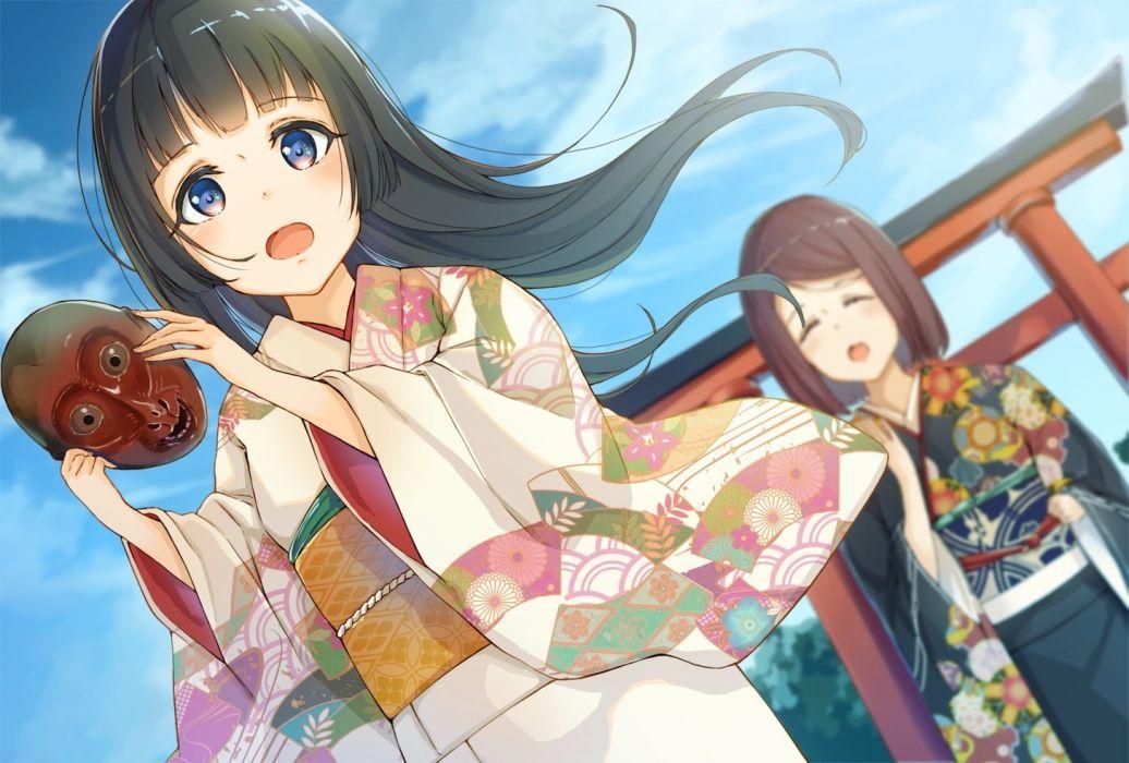 girls black hair blue eyes brown hair clouds japanese clothes kimono long hair mask original short hair sky tagme (artist) torii wallpaper