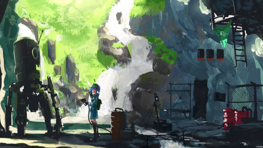 hat kaatoso kawashiro nitori touhou wallpaper