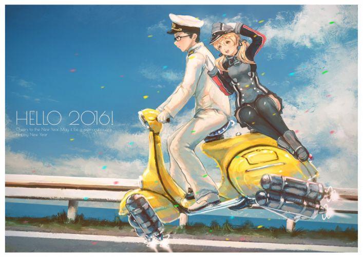 admiral (kancolle) blonde hair glasses hat kantai collection kuon (kwonchanji) male motorcycle prinz eugen (kancolle) uniform wallpaper