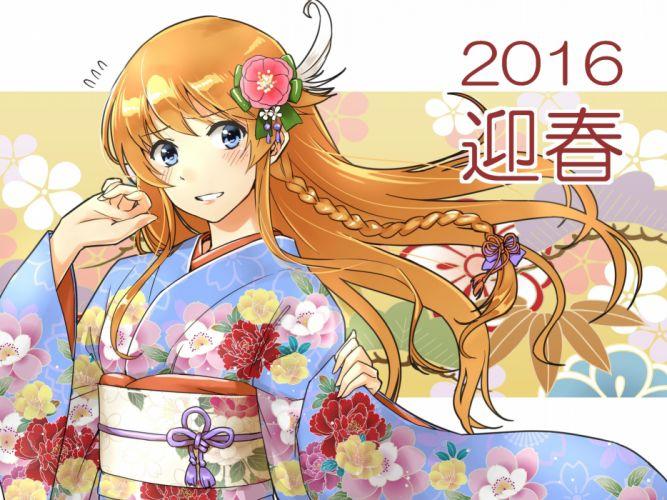 abo (hechouchou) aliasing blue eyes braids granblue fantasy headdress japanese clothes kimono lecia (granblue fantasy) long hair orange hair wallpaper