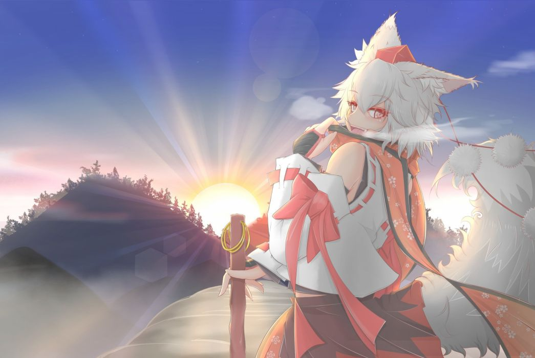aliasing animal ears bow cube85 fang hat japanese clothes ribbons scarf short hair sky staff sunset tail touhou tree white hair wolfgirl wallpaper
