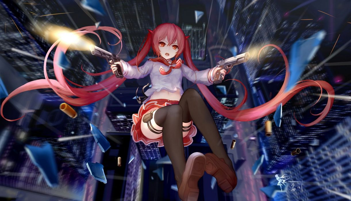 aliasing city gun hc hidan no aria kanzaki h aria long hair navel red eyes red hair seifuku skirt thighhighs twintails weapon wallpaper