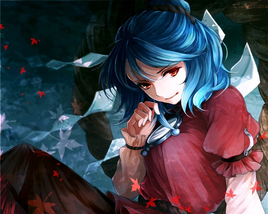 awa toka blue hair red eyes touhou yasaka kanako wallpaper