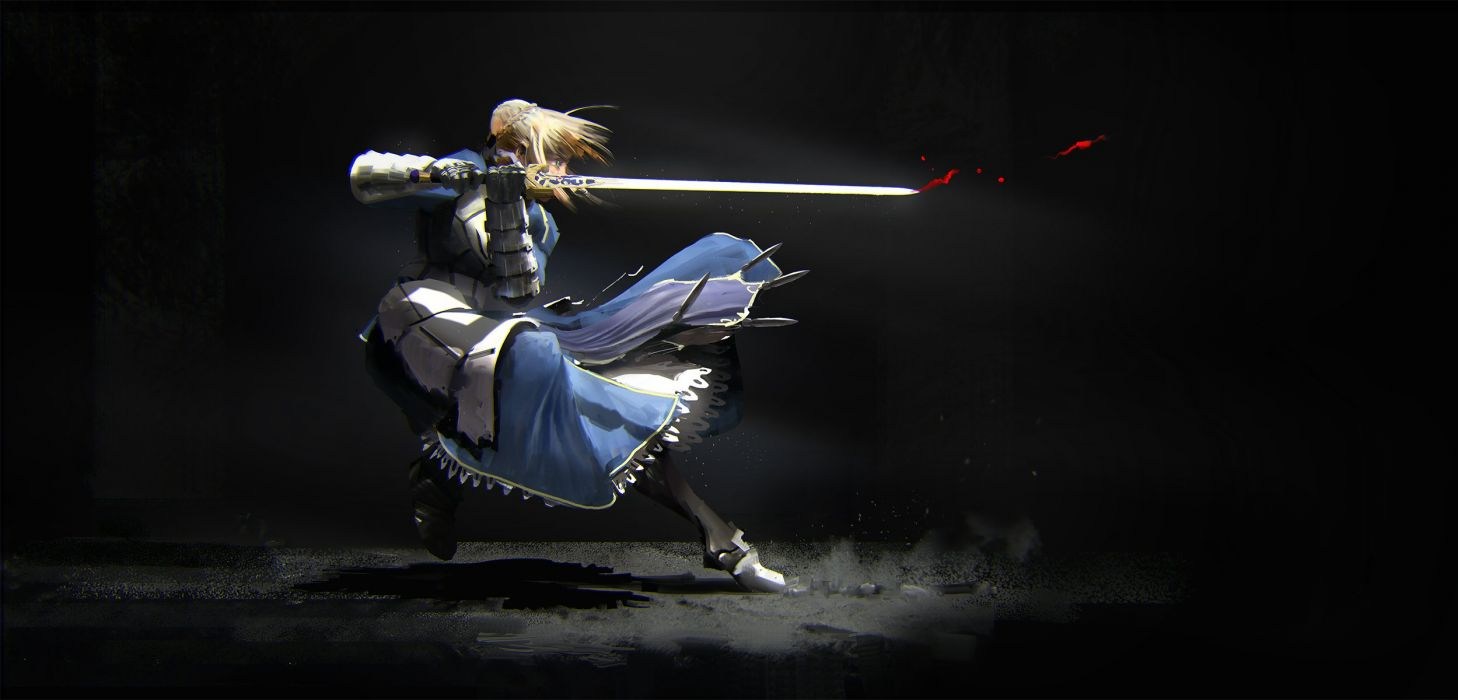 armor black blonde hair blood dress fate stay night saber sword weapon zhou shuo wallpaper