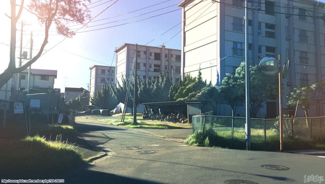 bicycle building city grass mirror original raichi scenic tree watermark wallpaper