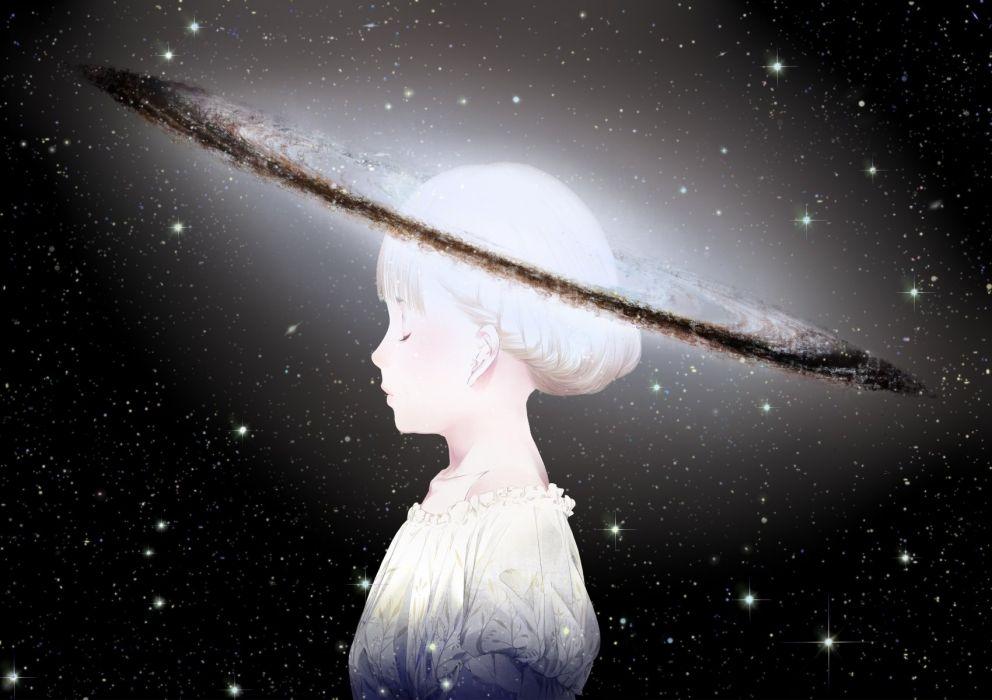black original planet sawasawa short hair space stars white hair wallpaper