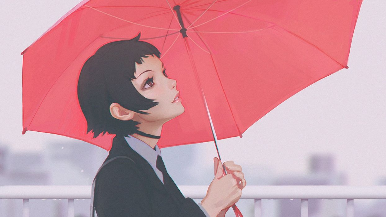 black hair brown eyes cropped ilya kuvshinov original photoshop short hair tie umbrella wallpaper