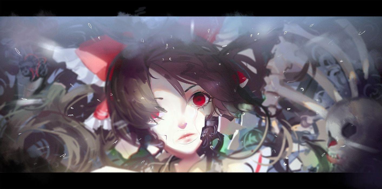 bow brown hair hakurei reimu hoshimawa red eyes robot touhou wallpaper