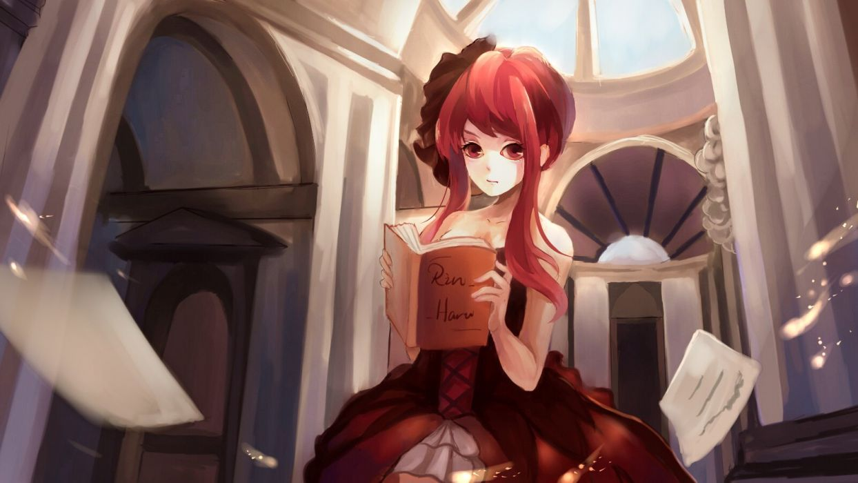 book dress long hair mirysa rh original red eyes red hair wallpaper