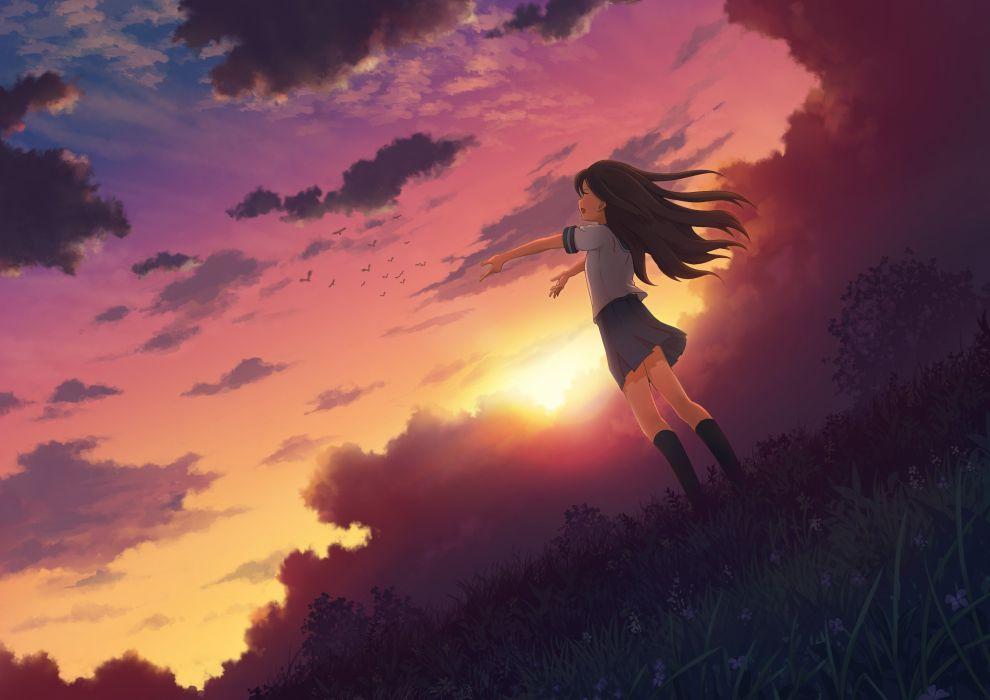 gatsu (mitsuki) animal bird brown hair flowers grass long hair seifuku sky sunset wallpaper