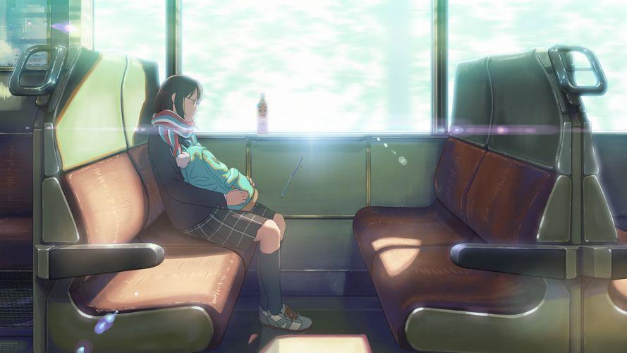 drink glasses isai shizuka kneehighs original scarf scenic seifuku skirt sleeping train wallpaper