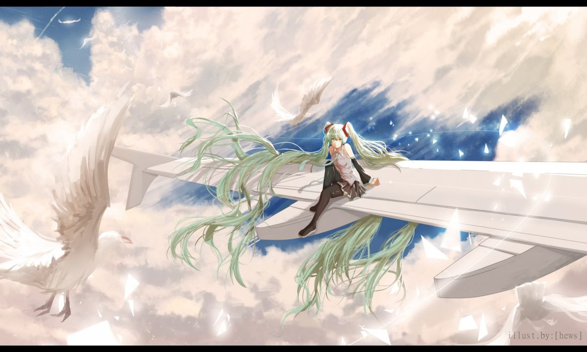 aircraft animal bird clouds green hair hatsune miku hewsack long hair skirt sky thighhighs twintails vocaloid watermark wallpaper