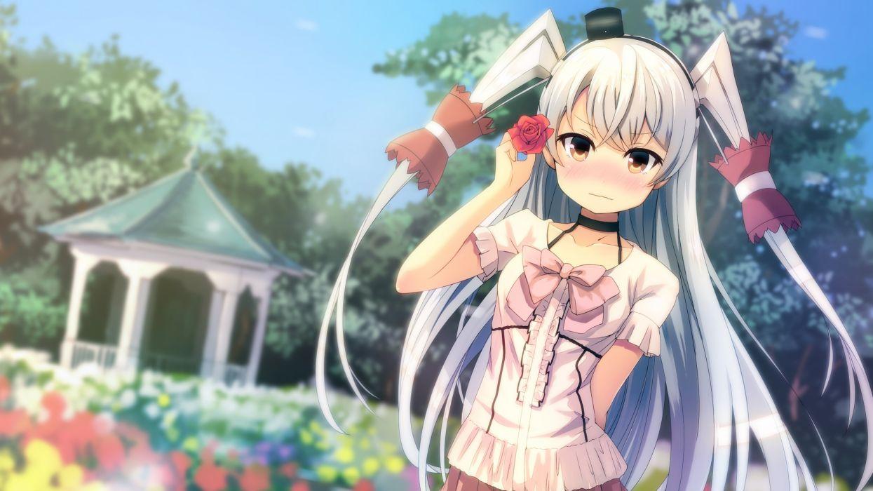 aliasing amatsukaze (kancolle) blush flowers headband kantai collection long hair orange eyes sunsuke twintails white hair wallpaper