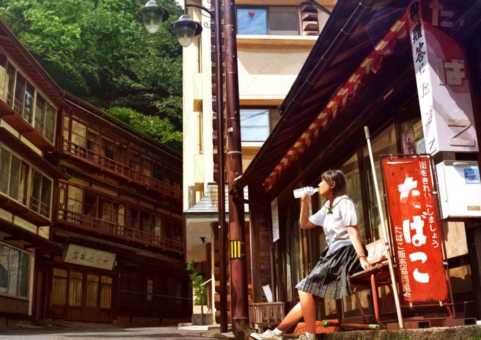 aliasing building drink mahiro (mahiroht) original realistic scenic seifuku skirt tree wallpaper
