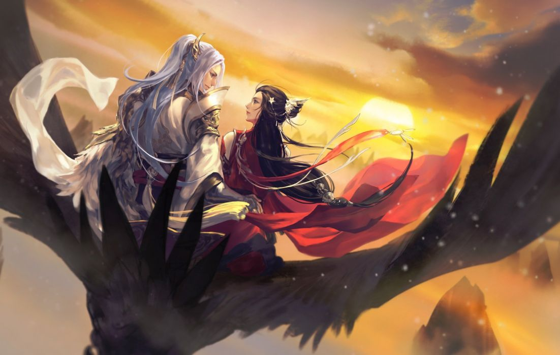 animal bird black hair hangleing japanese clothes long hair male sky sunset white hair wallpaper
