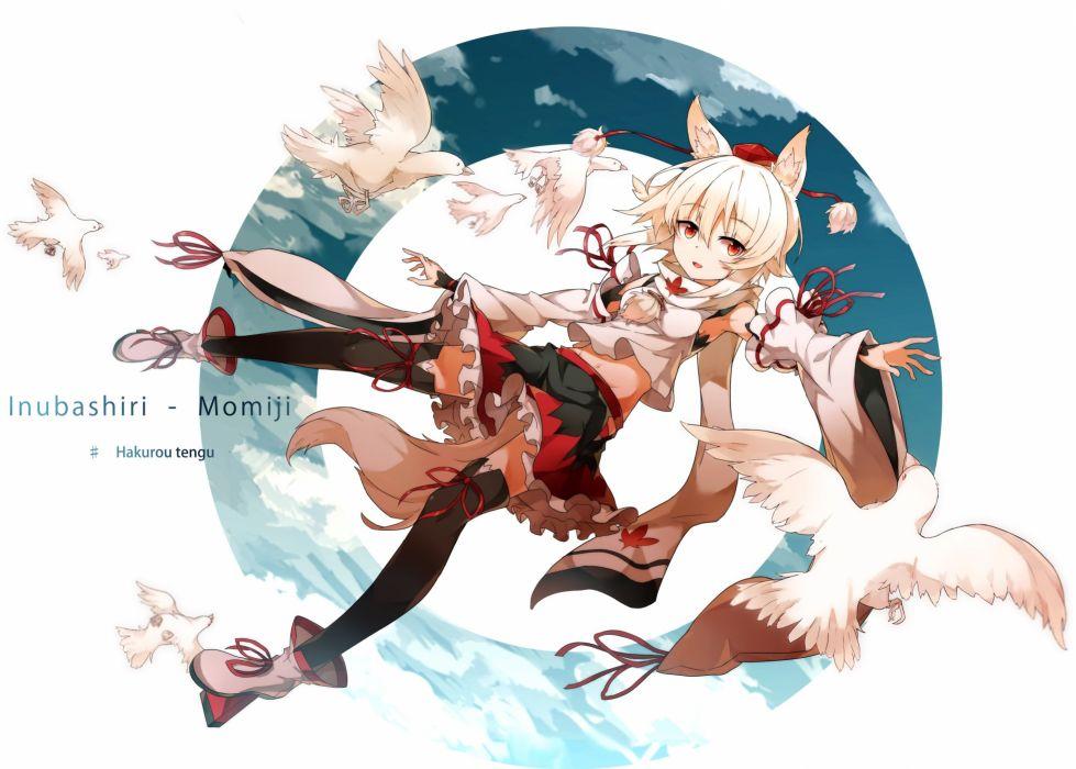animal animal ears bird boots hide448 inubashiri momiji navel red eyes ribbons short hair skirt thighhighs touhou white hair wolfgirl wallpaper