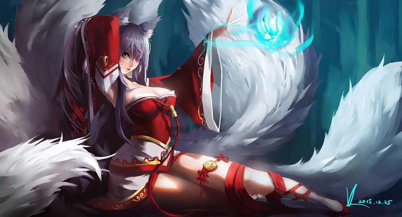 Animal ears breasts cleavage foxgirl gray hair japanese