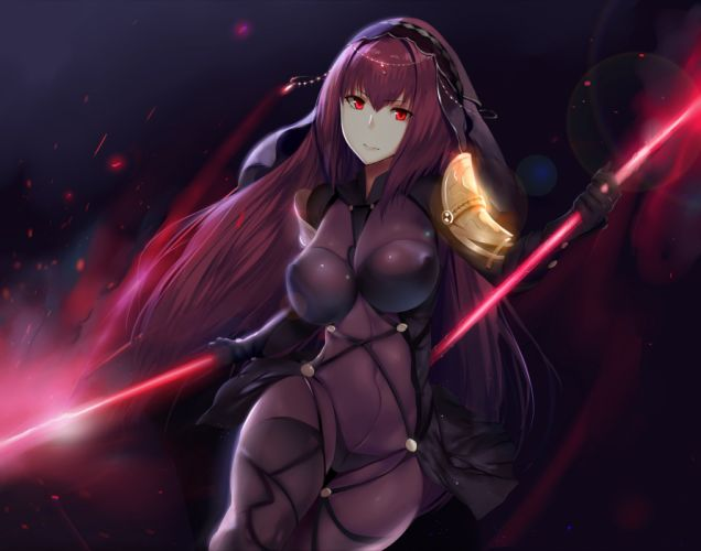armor bodysuit cropped erect nipples fate grand order fate stay night headdress hewsack long hair purple hair red eyes skintight spear weapon wallpaper