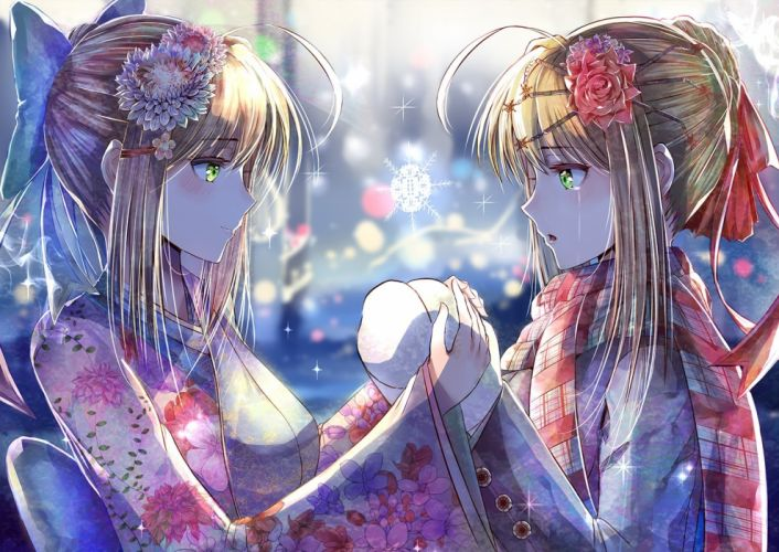 blonde hair blush bow crying fate stay night green eyes headdress japanese clothes kimono nikek96 saber scarf tears winter wallpaper
