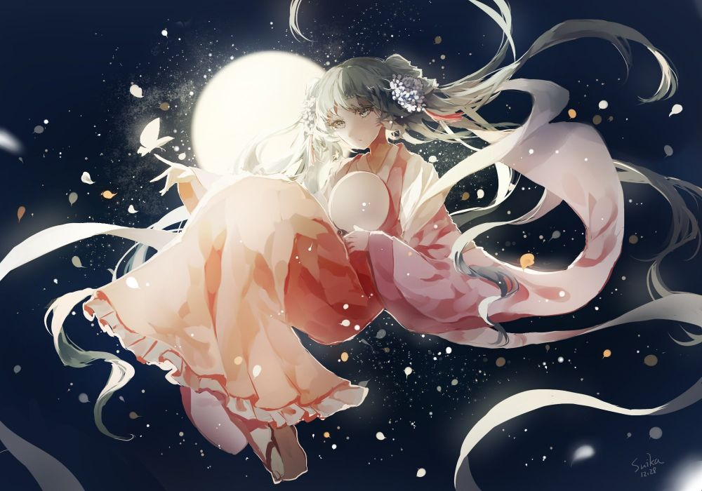 butterfly cui (jidanhaidaitang) hatsune miku japanese clothes kimono long hair signed twintails vocaloid wallpaper