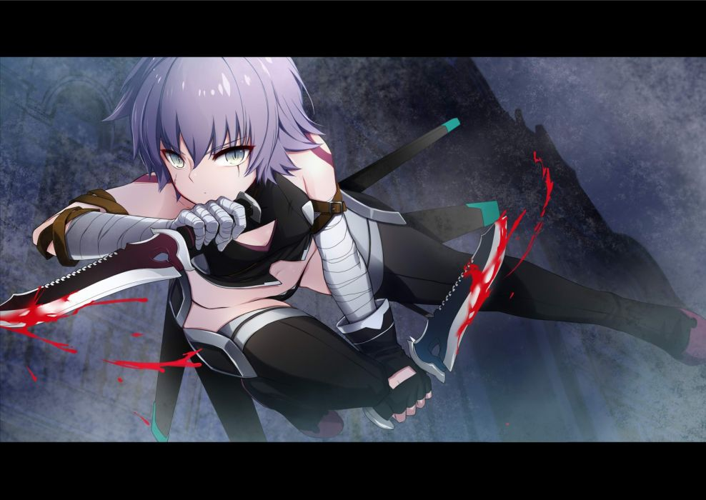assassin (fate apocrypha) bandage blood fate apocrypha fate stay night gray eyes knife purple hair short hair weapon ycco (estrella) wallpaper