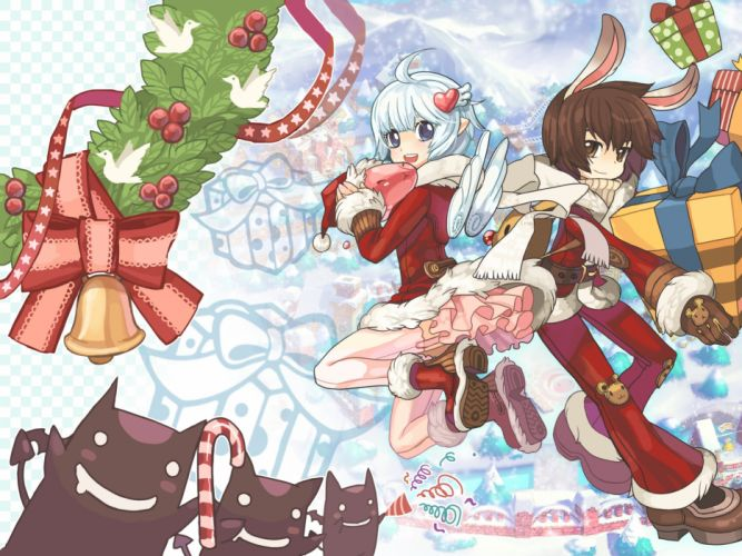 animal ears bunny ears christmas dress pointed ears ragnarok online stockings tagme (artist) tagme (character) thighhighs wings wallpaper