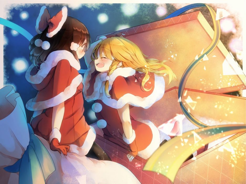 girls blonde hair blush bow brown hair christmas gloves hakurei reimu kirisame marisa piyokichi santa costume shoujo ai touhou wallpaper