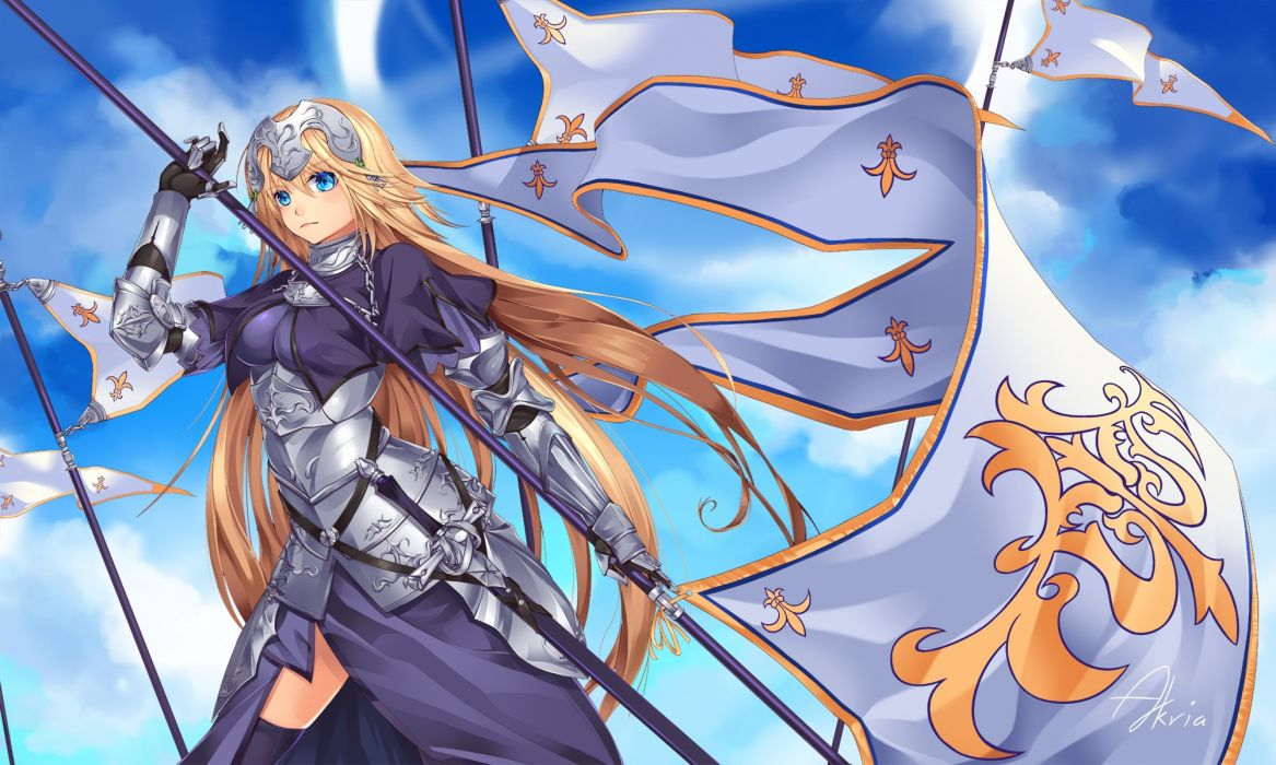 akira (5888172) armor blonde hair blue eyes clouds fate apocrypha fate grand order long hair ruler (fate apocrypha) signed spear thighhighs weapon wallpaper