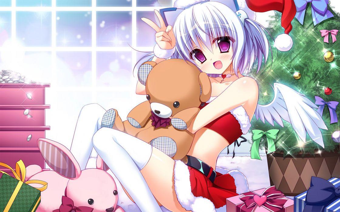 1000-chan aliasing bow bunny choker christmas headband headdress heart nanaca mai necklace oizumi teddy bear tree twintails white hair wings wallpaper