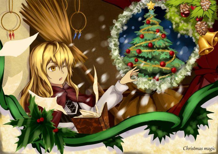 bell blonde hair book cape christmas kirisame marisa leaves long hair tagme (artist) touhou wink witch yellow eyes wallpaper