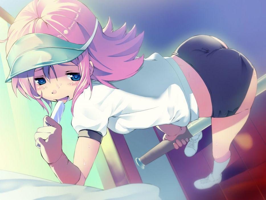 bloomers blue eyes daibanchou gym uniform ice cream negishi nanana pink hair u-ichi wallpaper