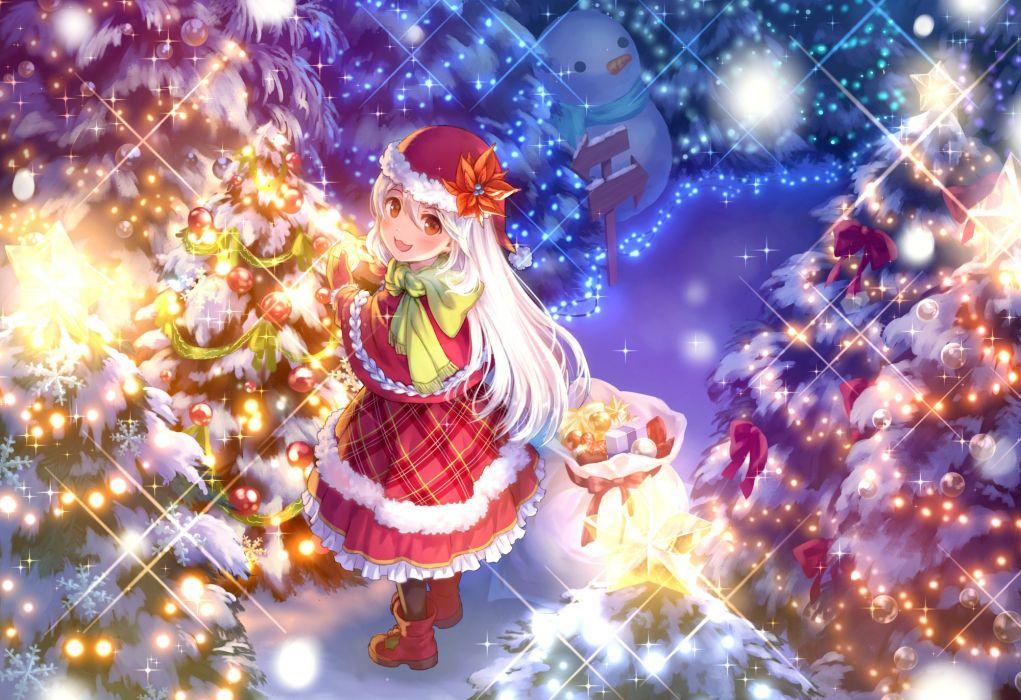 boots cat smile christmas hat long hair maruyama-jp orange eyes original santa costume santa hat snow snowman tree white hair wallpaper