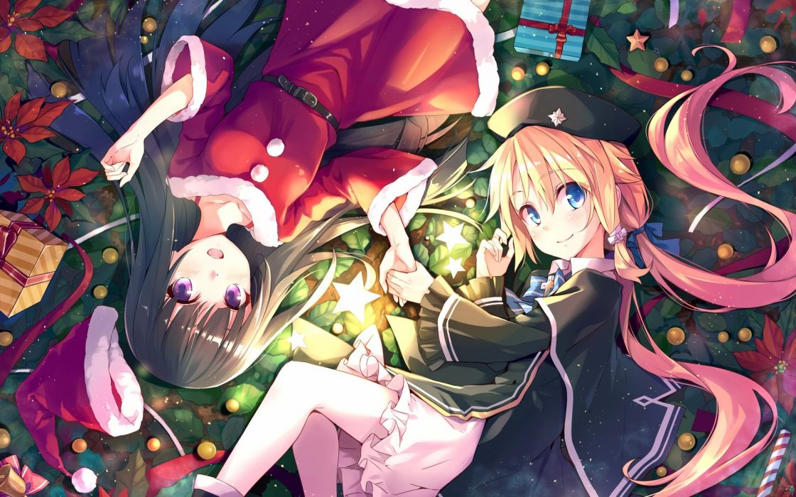 girls black hair blonde hair blue eyes bow cape christmas dress hat long hair pantyhose purple eyes santa costume santa hat twintails xiao ma wallpaper