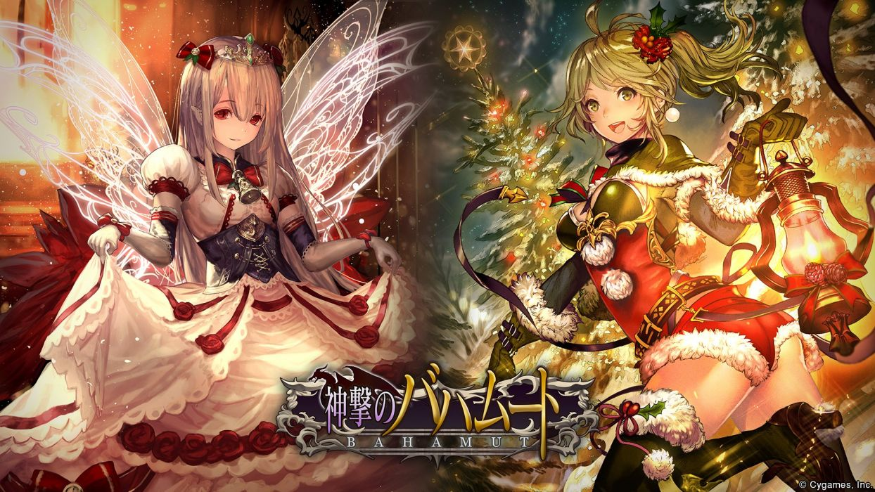 girls armor ass breasts christmas cleavage dress lee hyeseung pointed ears shingeki no bahamut skirt lift tagme (character) thighhighs wings wallpaper