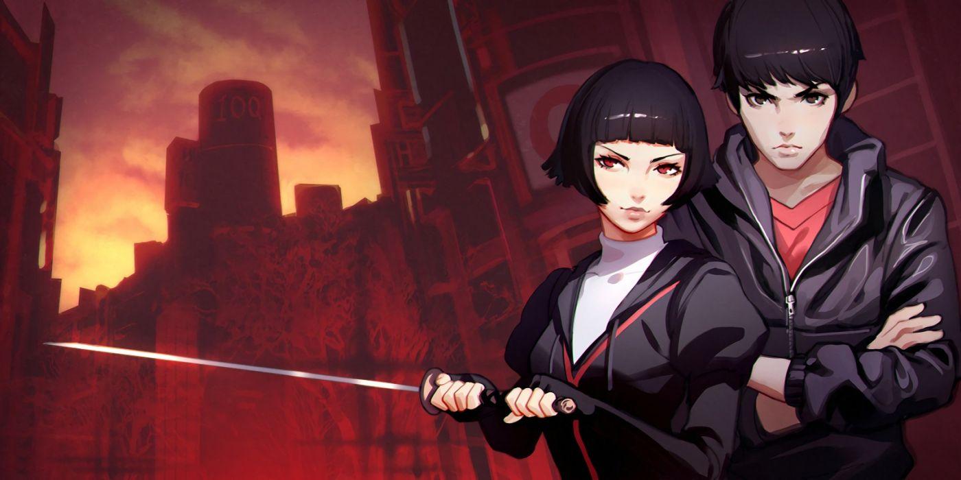 black hair brown eyes city hoodie ilya kuvshinov katana male original red eyes short hair sunset sword weapon wallpaper