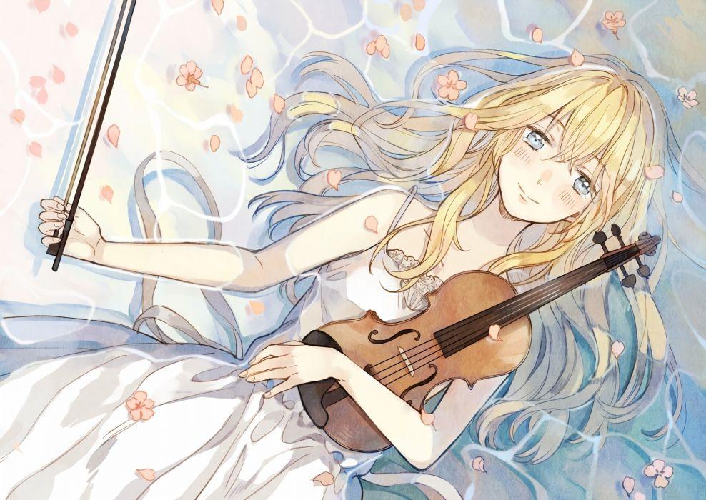 blonde hair blue eyes blush crying instrument miyazono kawori petals photoshop seuga shigatsu wa kimi no uso tears violin water wallpaper