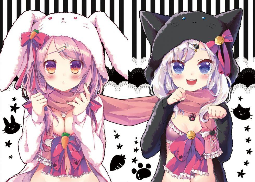 usefilenamegirls animal ears bell blue eyes blush bow breasts bunnygirl catgirl cleavage hoodie necklace orange eyes original pink hair scarf white hair wallpaper