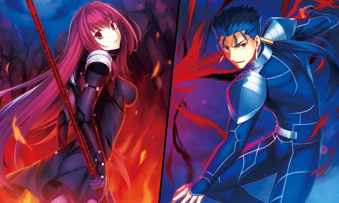 armor blue hair fate grand order fate stay night fire fuyuki (neigedhiver) lancer long hair male ponytail purple hair red eyes skintight spear weapon wallpaper